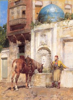 At the Well oil painting by Alberto Pasini, The highest quality oil painting reproductions and great customer service! Empire Ottoman, Art Du Monde, Art Occidental, Arabian Art, Islamic Paintings, Old Egypt, Great Paintings, Historical Art, Oil Painting Reproductions