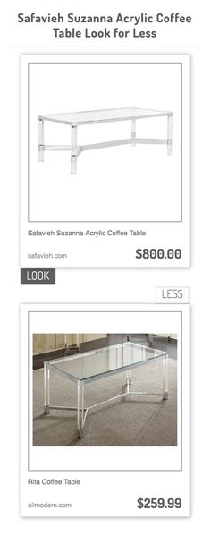 Safavieh Suzanna Acrylic Coffee Table vs Rita Coffee Table