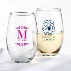 Personalized Botanical Stemless Wine Glass Favor (Kate Aspen 30009NA) | Buy at Wedding Favors Unlimited (http://www.weddingfavorsunlimited.com/personalized_botanical_stemless_wine_glass_favor.html).