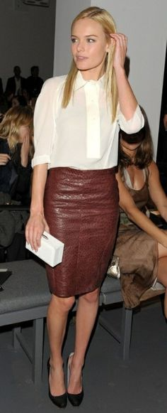leather skirt and a crisp white top // kate bosworth #style