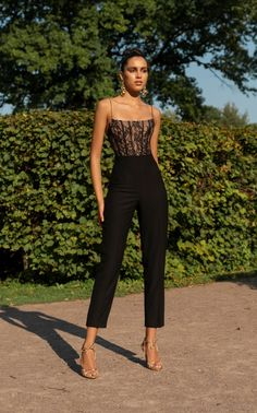 96883d42f2f Square-Neck Satin Cropped Jumpsuit by Rasario SS19 Fashion Night