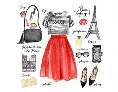 Watercolor Fashion Illustration/ Paris Fashion/ Clip Art Fashion Set/ Art Print/ Poster Card/ Design - All About Paris Chic, Paris Paris, Paris France, Paris Mode, Dress Like A Parisian, Parisian Style, Fashion Beauty, Girl Fashion, Fashion Outfits