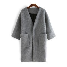 Grey Half Sleeve Pockets Woolen Coat (€58) ❤ liked on Polyvore featuring outerwear, coats, gray wool coat, wool coat, gray coat, grey coat and grey wool coat
