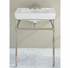 """Porcher 24540 Lutezia 28"""" Wall Mounted Vitreous China Lavatory Console with Sink, 8"""" Centers, and Chrome Frame"""