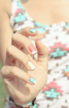Summer nails - colorful, angled french manicures #manicure #nailart