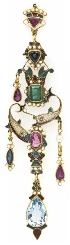 An Antique Polychrome Enamel, Pearl and Multi Gem Lavaliere, in a Renaissance revival style with central porpoise motif, consisting of a gold tone base accented with enamel, containing numerous seed pearls, an octagonal step cut emerald, a pear shape aquamarine, pear and marquise shape sapphires, an oval brilliant cut pink sapphire, two pear shape rubies and one triangular step cut ruby. #RenaissanceRevival #lavalier #pendant