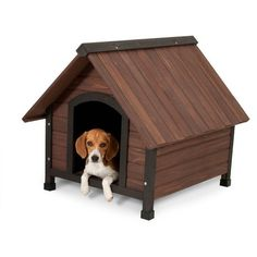 The compact and easy to assemble Aspen Pet Ruff Hauz Peak-Roof Wood Dog House is pest, rot and water resistant with a raised floor and leveling feet creating a comfortable and durable choice for outdoor pets.