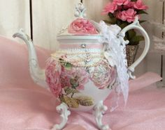 Shabby chic teapot, lace,cottage roses embellished silver plated tea pot