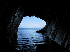 Sea caves at The Ovens in Nova Scotia, one of the best places to be during a storm!