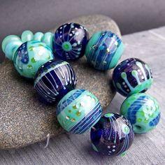 MruMru Handmade Lampwork Glass Bead  set. Sra. by magdalenaruiz, $55.00