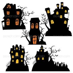 Casas de Halloween Halloween Clipart Haunted House por ArtAmoris