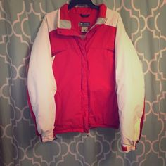 Red and white Columbia winter coat Red and white Columbia winter coat, very warm! Fits more like a large than XL. There is some normal wear on the cuffs of the coat. But nothing to major. Columbia Jackets & Coats