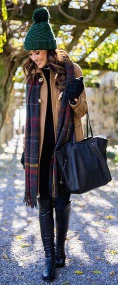 #winter #fashion / camel coat + scarf