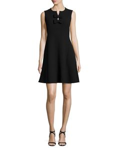 sleeveless split-neck dress w/bow detail, black