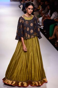 Olive green anarkali with navy embroidered cape available only at Pernia's Pop Up Shop. #lakmefashionweek #krishnamehta #ramp #clothing