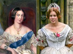 "Princess Beatrice bears an uncanny resemblance to her great-grandmother, Queen Victoria. Here she is on the set of ""The Young Victoria"". Reine Victoria, Queen Victoria, Royal Prince, Prince And Princess, Prince Harry, Princess Anne, Lady Diana, The Young Victoria, Eugenie Of York"