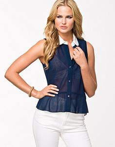 Collar Chiffon Shirt With Frill Glamorous navy/white