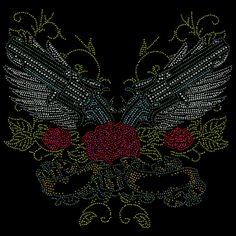 14x13 - Guns & Roses (TAŞLARI) - gnr, silahlar, silah ve gül, Rhinestone, Rhinestud, gül, kanatlar, Materyal Transfer, Dövme Bak, Wings, Bayanlar Moda, Dövme Sanatı