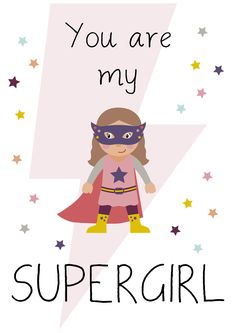 Lámina Supergirl, Láminas decorativas, láminas cuadros, láminas infantiles, láminas niños, láminas decoración, láminas pared, láminas nórdicas, ilustración, ilustraciones niños, ilustración infantil, habitación bebé, decoración niños