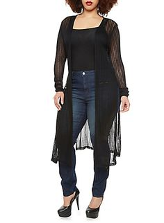 Plus Size Long Sheer Cardigan Sweater with Open Front and Side Slits