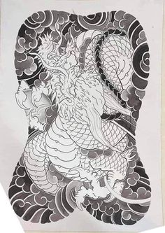Japanese Back Tattoo, Japanese Dragon Tattoos, Dragon Tattoo Back Piece, Dragon Sleeve Tattoos, Tiger Tattoo, Lion Tattoo, Body Art Tattoos, Tattoo Drawings, Asian Tattoos
