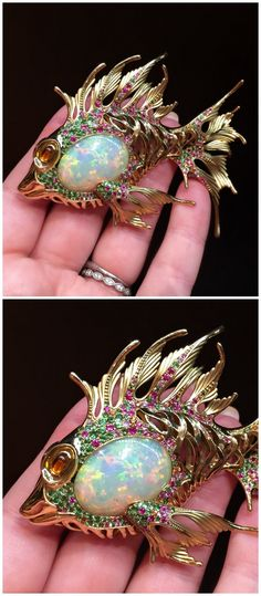 A magnificent opal fish brooch by Mousson Atelier.