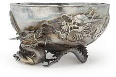 £4,000 A silver bowl with dragons Meiji period (late 19th century)