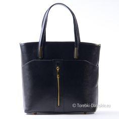 Nowy model włoskiej skórzanej torebki damskiej ze złotymi metalowymi ozdobami: z przodu pionowy zamek błyskawiczny, metalowe detale przy uchwytach