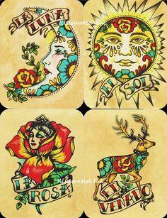 Loteria deck inspiration: Folk Art POSTCARDS Mexican Loteria Tattoo Art - Set of 8 Designs. $10.00, via