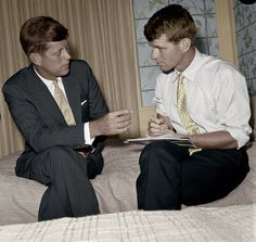 Sen. John F. Kennedy, front running candidate for the Democratic Presidential nomination, talks things over with his brother and campaign manager, Robert Kennedy ~ 1960