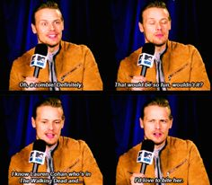 When he was asked whether he'd rather play a zombie on The Walking Dead or a rapper on Empire. 18 Times Sam Heughan Was Hilarious, Cute, And Deeply Hot Sam Heughan Caitriona Balfe, Sam Heughan Outlander, Sam Heugan, Sam And Cait, Fangirl, Lauren Cohan, Daniel Gillies, Outlander Series, Jamie Fraser