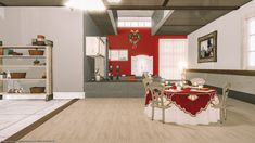 A sneak peek at my Christmas house design! Cozy Christmas, Wood Accents, Patio Doors, Floating Shelves, Design Inspiration, House Design, Interior, Room, Decor