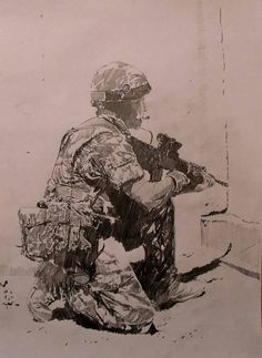 Warfighter Modern Warfare Pc, Soldier Tattoo, Soldier Drawing, Military Drawings, Anime Sketch, Military Art, Easy Paintings, Illustrators, Cool Art
