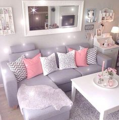 New Living Room Decor Colors Grey Small Spaces Ideas Living Room Decor Colors, Small Room Design, Living Room Decor Apartment, Living Room Design Small Spaces, Apartment Living Room, Trendy Living Rooms, Apartment Decor, Room Decor, Living Room Sofa Design
