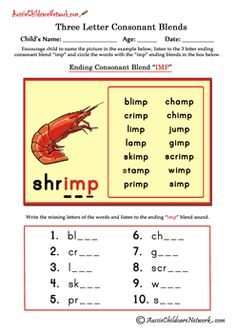 Blends Worksheets  Teaching Phonatics    Consonant
