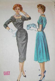 Vintage 1950s McCalls 4568 GLAM Wiggle Full Skirt Dress Pattern 39B sz 18.5   eBay
