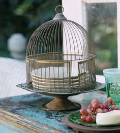 Vintage Cake Stand and Birdcage.