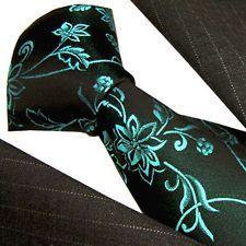 84385 Lorenzo Cana Cravate italienne 100% soie Noir Bleu Cachemire neuf