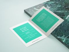 Free bifold leaflet mockup with customizable background color in three shots