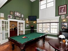 Billiard room in the home we staged in Bayport NY. Photo by Jump Visual