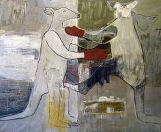 Prize-Fighting Kangaroos, oil on canvas, 160x130cm, Henrik Haukeland 2013.
