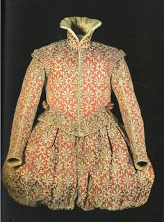 Early XVII century. This one appears in Janet Arnold. It's made of silk, while the flowers are rather crazy: the design is all leather appliqué, cut out after being sewn down.