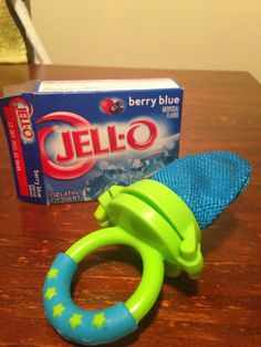 Make Jello and place a little into the fresh food feeder and place in the freezer!! Your teething baby will calm down instantly!!!!