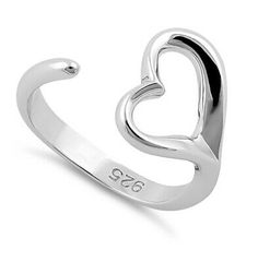 Sterling Silver Single Heart Thumb,Index,Pinky Adjustable Toe Ring - (Size Dreamland Jewelry, Arrow Keys, Sterling Silver Rings, Heart Ring, Plating, Band, Metal, Polish, Girl Names