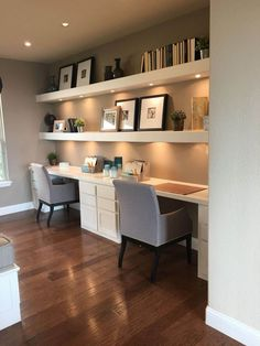 Gorgeous Desk Designs for any Office : built in desk, built in two person desk in home office decor with open shelf decor, home office in living room Small Home Offices, Home Office Space, Home Office Design, Home Office Decor, Home Design, Home Decor, Office Designs, Home Office Lighting, Bedroom Office