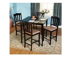 5 Piece Counter Height Dining Room Kitchen Set Elegant Sturdy Furniture Black #Unbranded