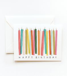 DYI birthday card...how easy it would be to watercolor the candles on a card and do the lettering yourself!