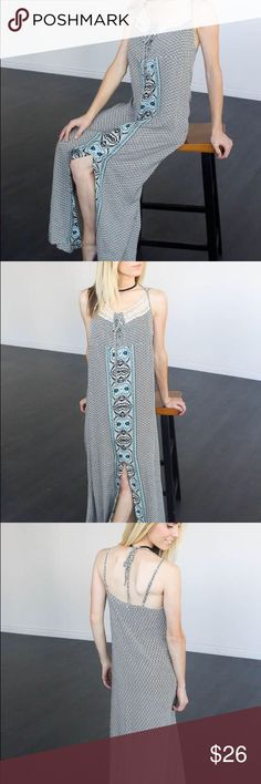 Boho Styled Maxi Dress Blacks, Creams, and Aqua colors flatter on this boho printed dress with gorgeous front crochet lace detailing. Tie neck with adjustable spaghetti straps for a perfect fit. Slim fit and flattering. A perfect summer to fall transition piece! Pairs great with our Reversible Bomber Jacket and wedges, perfect for an evening out!  Model is wearing a Small Small fits 0-6 Medium fits 8-12 Large fits 14-16 100% Rayon Dresses Maxi
