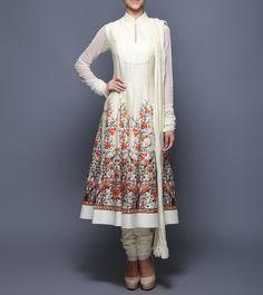 Ivory Digitally Printed Chanderi, Net & Voile Anarkali Suit