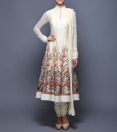#Ivory Digitally Printed #Chanderi #Net & #Voile #Anarkali #Suit from #Balance By #Rohit #Bal at #Indianroots